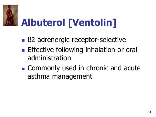 43 Albuterol [Ventolin]  ß2 adrenergic receptor-selective  Effective following inhalation or oral administration  Commo...