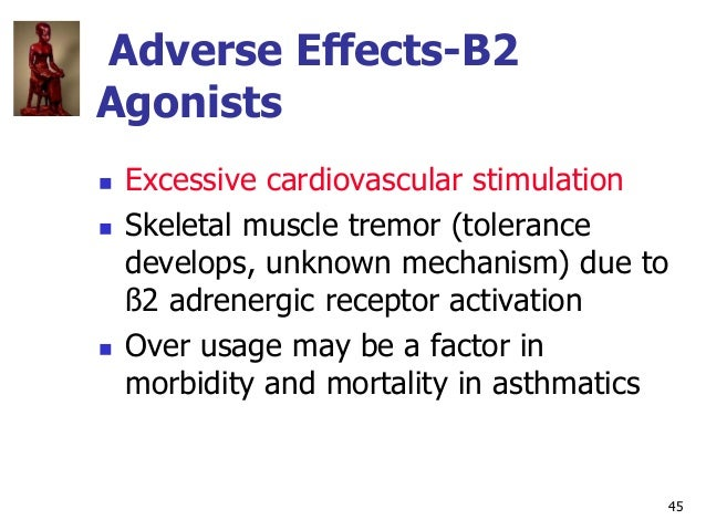 45 Adverse Effects-B2 Agonists  Excessive cardiovascular stimulation  Skeletal muscle tremor (tolerance develops, unknow...