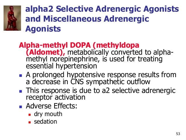 53 alpha2 Selective Adrenergic Agonists and Miscellaneous Adrenergic Agonists Alpha-methyl DOPA (methyldopa (Aldomet), met...