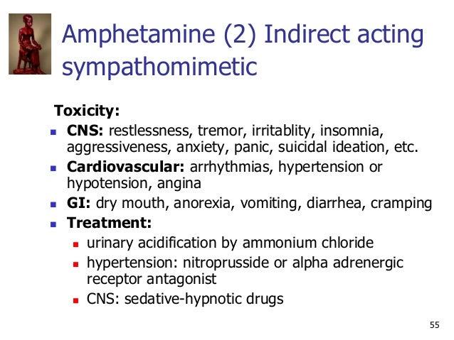 55 Amphetamine (2) Indirect acting sympathomimetic Toxicity:  CNS: restlessness, tremor, irritablity, insomnia, aggressiv...