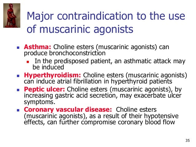 35 Major contraindication to the use of muscarinic agonists  Asthma: Choline esters (muscarinic agonists) can produce bro...