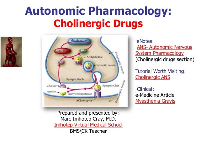 Autonomic Pharmacology: Cholinergic Drugs Prepared and presented by: Marc Imhotep Cray, M.D. Imhotep Virtual Medical Schoo...