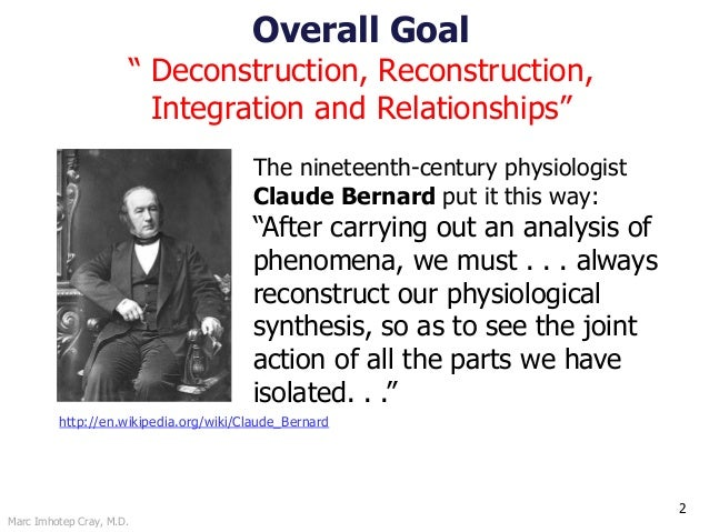 """Marc Imhotep Cray, M.D. Overall Goal """" Deconstruction, Reconstruction, Integration and Relationships"""" 2 The nineteenth-cen..."""