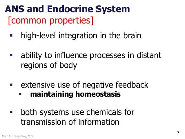 Marc Imhotep Cray, M.D. ANS and Endocrine System [common properties] 7  high-level integration in the brain  ability to ...