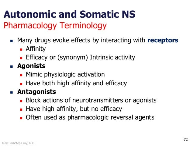 Marc Imhotep Cray, M.D. 72 Autonomic and Somatic NS Pharmacology Terminology  Many drugs evoke effects by interacting wit...