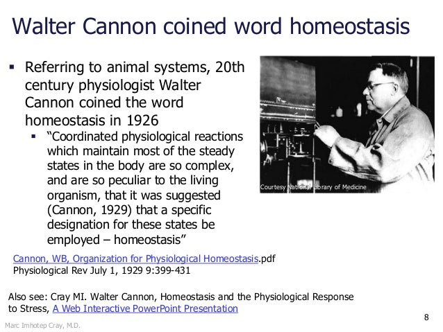 Marc Imhotep Cray, M.D. 8  Referring to animal systems, 20th century physiologist Walter Cannon coined the word homeostas...