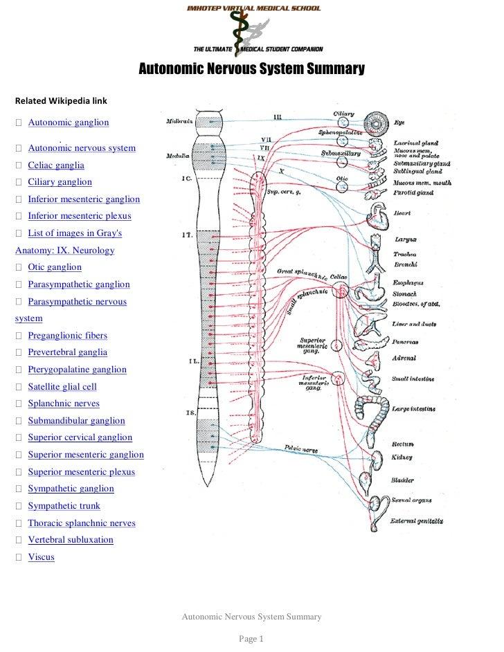 Autonomic Nervous System SummaryRelated Wikipedia link   Autonomic ganglion         .   Autonomic nervous system   Celiac ...