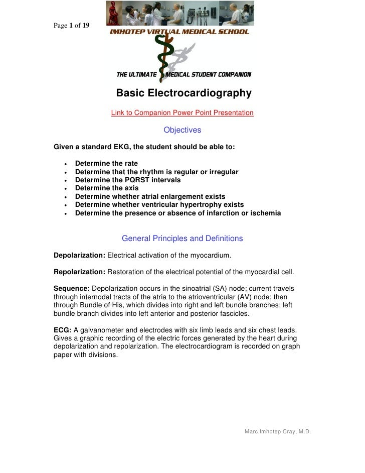 Page 1 of 19                    Basic Electrocardiography                  Link to Companion Power Point Presentation     ...