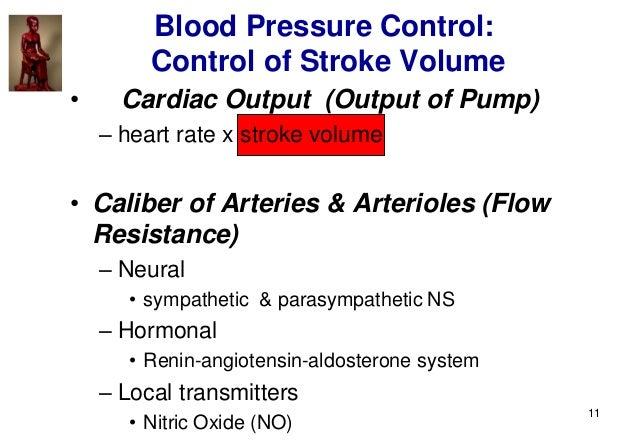 11 • Cardiac Output (Output of Pump) – heart rate x stroke volume • Caliber of Arteries & Arterioles (Flow Resistance) – N...
