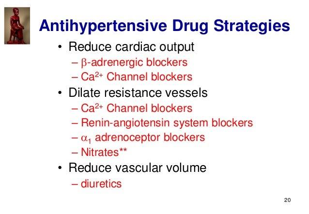 20 Antihypertensive Drug Strategies • Reduce cardiac output – -adrenergic blockers – Ca2+ Channel blockers • Dilate resis...