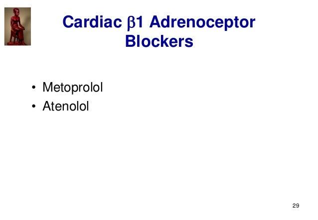 29 Cardiac 1 Adrenoceptor Blockers • Metoprolol • Atenolol