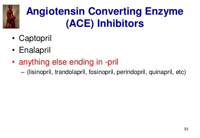 33 Angiotensin Converting Enzyme (ACE) Inhibitors • Captopril • Enalapril • anything else ending in -pril – (lisinopril, t...
