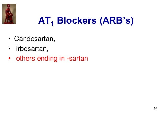 34 AT1 Blockers (ARB's) • Candesartan, • irbesartan, • others ending in -sartan