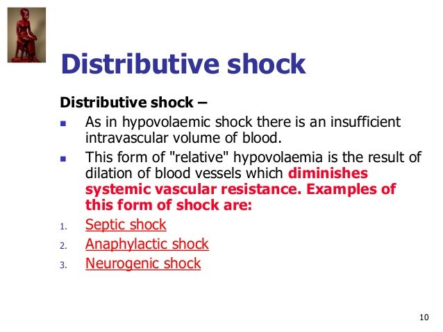 10 Distributive shock Distributive shock –  As in hypovolaemic shock there is an insufficient intravascular volume of blo...