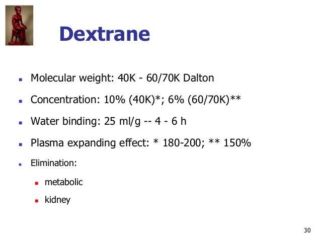 30 Dextrane  Molecular weight: 40K - 60/70K Dalton  Concentration: 10% (40K)*; 6% (60/70K)**  Water binding: 25 ml/g --...