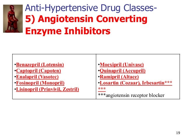 19 Anti-Hypertensive Drug Classes- 5) Angiotensin Converting Enzyme Inhibitors •Benazepril (Lotensin) •Captopril (Capoten)...