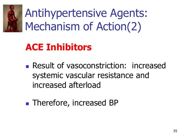 35 Antihypertensive Agents: Mechanism of Action(2) ACE Inhibitors  Result of vasoconstriction: increased systemic vascula...