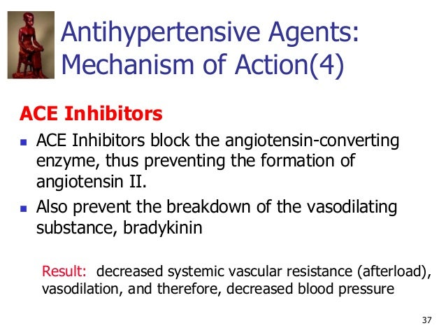 37 Antihypertensive Agents: Mechanism of Action(4) ACE Inhibitors  ACE Inhibitors block the angiotensin-converting enzyme...
