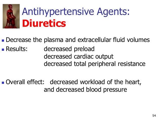 54 Antihypertensive Agents: Diuretics  Decrease the plasma and extracellular fluid volumes  Results: decreased preload d...