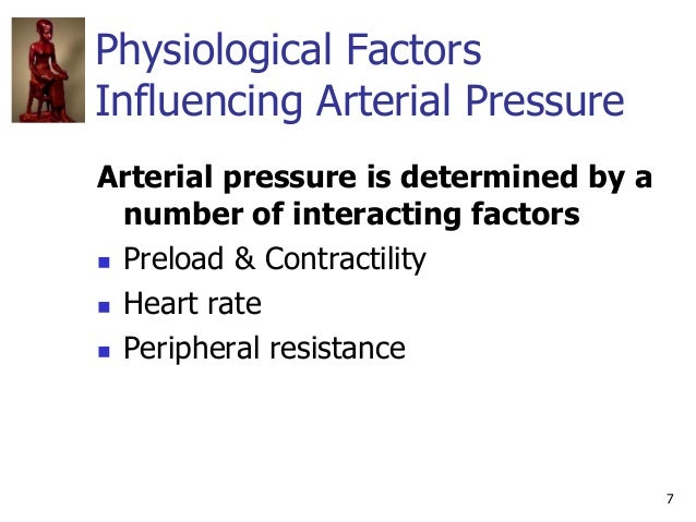 7 Physiological Factors Influencing Arterial Pressure Arterial pressure is determined by a number of interacting factors ...