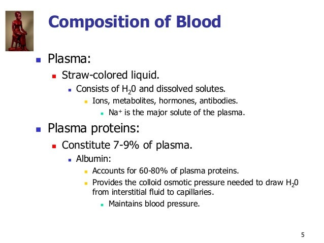 Copyright © The McGraw-Hill Companies, Inc. Permission required for reproduction or display. 5 Composition of Blood  Plas...