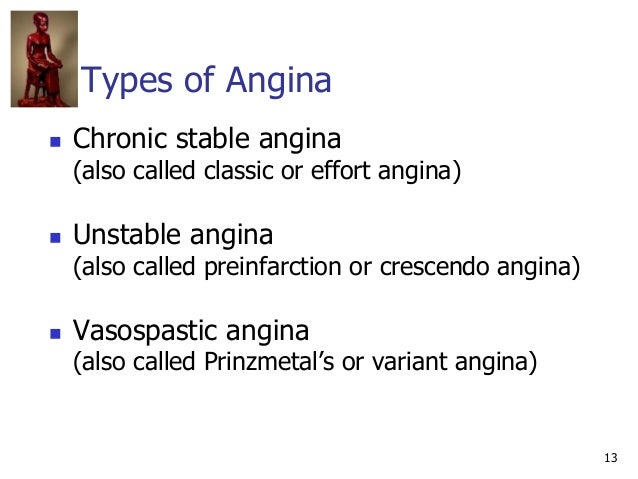 13 Types of Angina  Chronic stable angina (also called classic or effort angina)  Unstable angina (also called preinfarc...