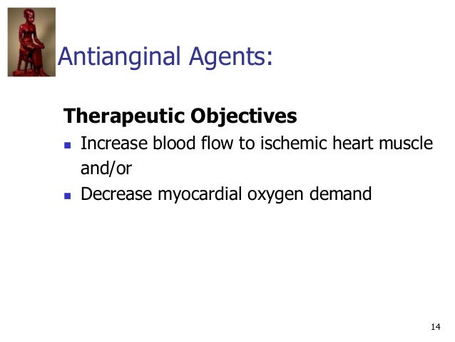 14 Antianginal Agents: Therapeutic Objectives  Increase blood flow to ischemic heart muscle and/or  Decrease myocardial ...