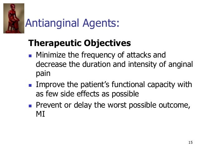 15 Antianginal Agents: Therapeutic Objectives  Minimize the frequency of attacks and decrease the duration and intensity ...