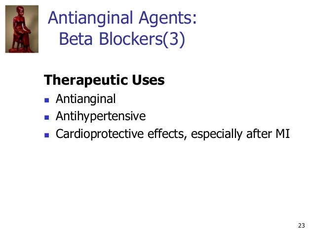 23 Antianginal Agents: Beta Blockers(3) Therapeutic Uses  Antianginal  Antihypertensive  Cardioprotective effects, espe...