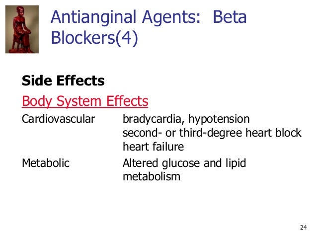24 Antianginal Agents: Beta Blockers(4) Side Effects Body System Effects Cardiovascular bradycardia, hypotension second- o...