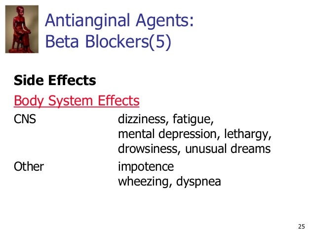 25 Antianginal Agents: Beta Blockers(5) Side Effects Body System Effects CNS dizziness, fatigue, mental depression, lethar...