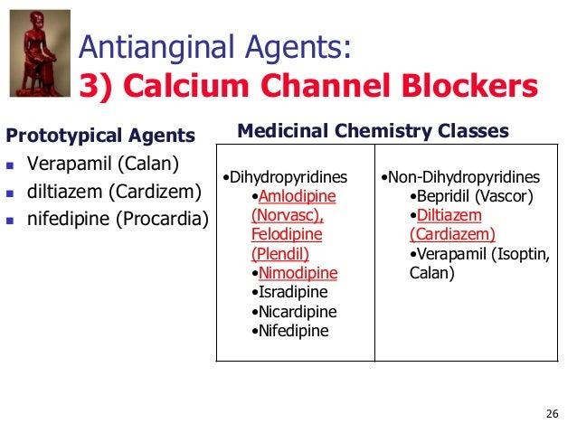 26 Antianginal Agents: 3) Calcium Channel Blockers Prototypical Agents  Verapamil (Calan)  diltiazem (Cardizem)  nifedi...