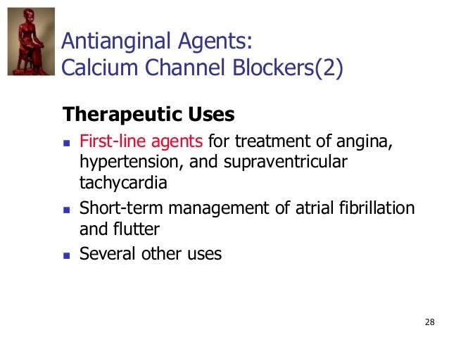 28 Antianginal Agents: Calcium Channel Blockers(2) Therapeutic Uses  First-line agents for treatment of angina, hypertens...