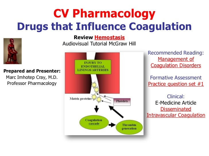 CV Pharmacology     Drugs that Influence Coagulation                               Review Hemostasis                      ...