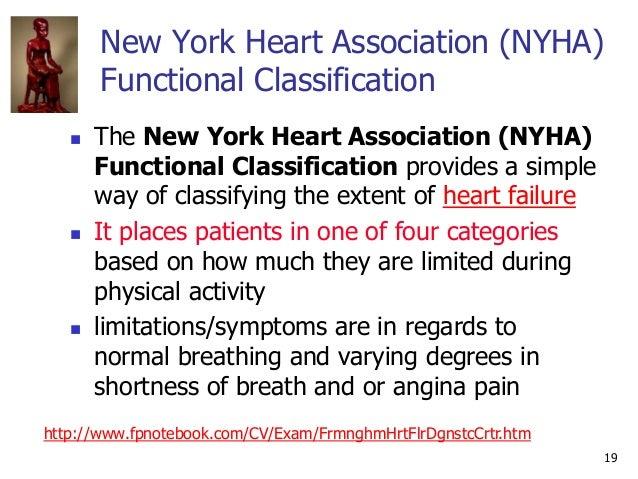 19 New York Heart Association (NYHA) Functional Classification  The New York Heart Association (NYHA) Functional Classifi...
