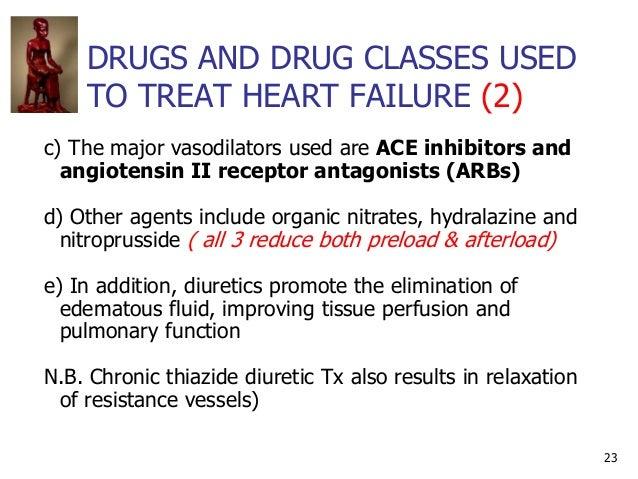 DRUGS AND DRUG CLASSES USED TO TREAT HEART FAILURE (2) 23 c) The major vasodilators used are ACE inhibitors and angiotensi...