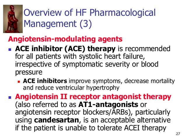 27 Overview of HF Pharmacological Management (3) Angiotensin-modulating agents  ACE inhibitor (ACE) therapy is recommende...