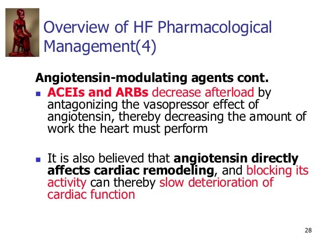 28 Overview of HF Pharmacological Management(4) Angiotensin-modulating agents cont.  ACEIs and ARBs decrease afterload by...