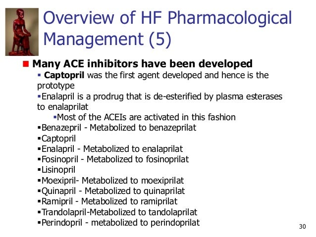 Overview of HF Pharmacological Management (5) 30 Many ACE inhibitors have been developed  Captopril was the first agent d...