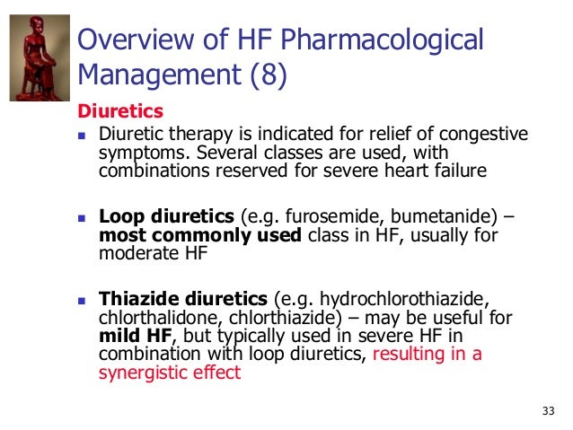 33 Overview of HF Pharmacological Management (8) Diuretics  Diuretic therapy is indicated for relief of congestive sympto...