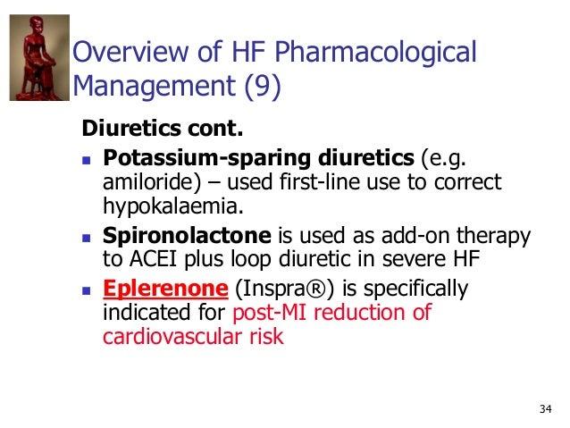 34 Overview of HF Pharmacological Management (9) Diuretics cont.  Potassium-sparing diuretics (e.g. amiloride) – used fir...
