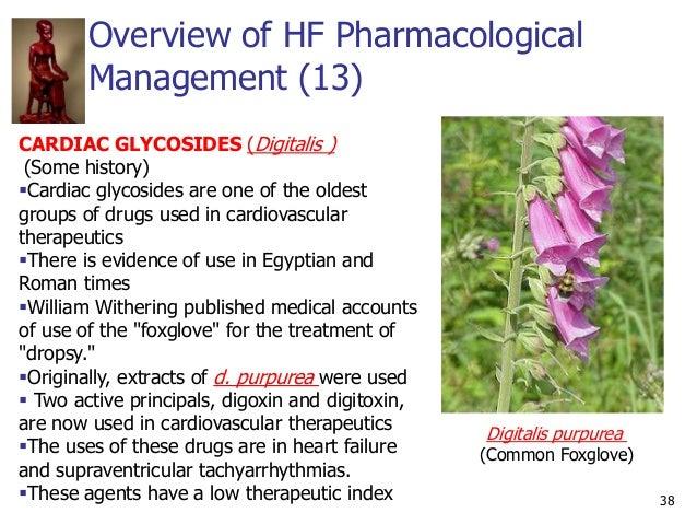 Overview of HF Pharmacological Management (13) 38 CARDIAC GLYCOSIDES (Digitalis ) (Some history) Cardiac glycosides are o...