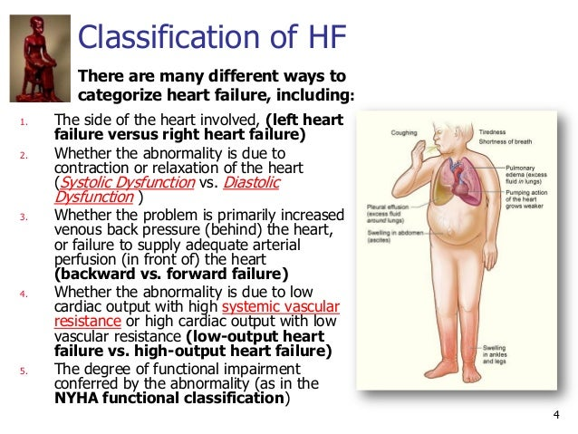 4 Classification of HF 1. The side of the heart involved, (left heart failure versus right heart failure) 2. Whether the a...
