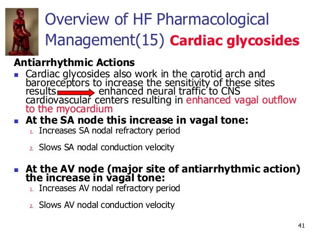 41 Antiarrhythmic Actions  Cardiac glycosides also work in the carotid arch and baroreceptors to increase the sensitivity...