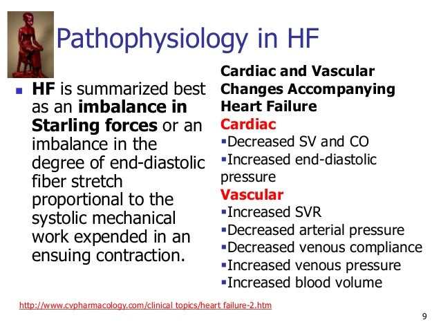 9 Pathophysiology in HF  HF is summarized best as an imbalance in Starling forces or an imbalance in the degree of end-di...