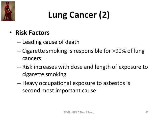 Lung Cancer (2) • Risk Factors – Leading cause of death – Cigarette smoking is responsible for >90% of lung cancers – Risk...
