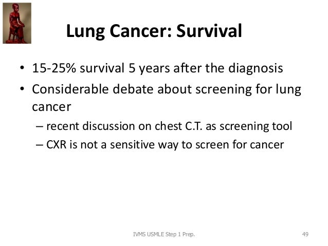 Lung Cancer: Survival • 15-25% survival 5 years after the diagnosis • Considerable debate about screening for lung cancer ...