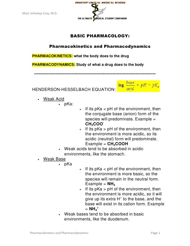 Marc Imhotep Cray, M.D.                                BASIC PHARMACOLOGY:                 Pharmacokinetics and Pharmacody...