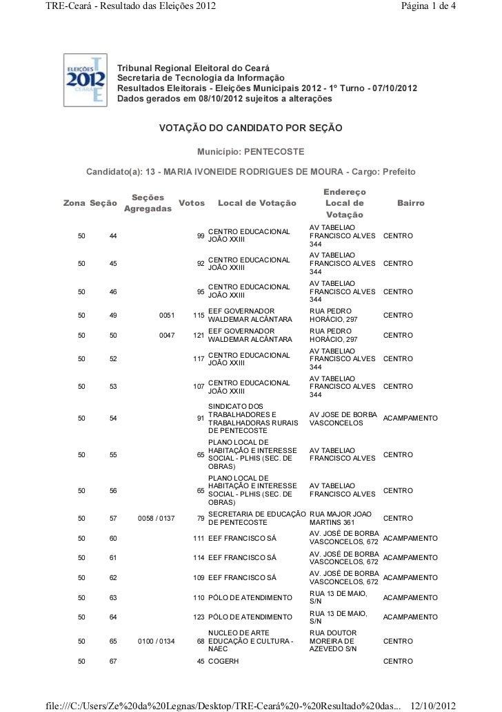 TRE-Ceará - Resultado das Eleições 2012                                                   Página 1 de 4                  T...