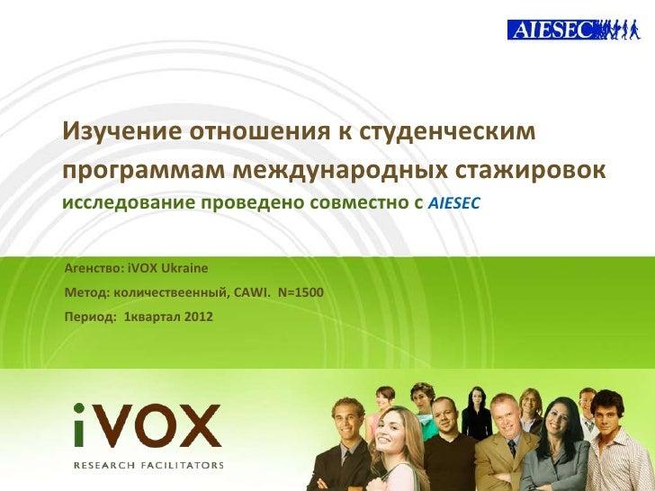 Изучение отношения к студенческимпрограммам международных стажировокисследование проведено совместно с AIESECАгенство: iVO...